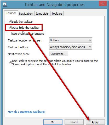 Ẩn thanh taskbar màn hình Win 7, 8, 10, XP
