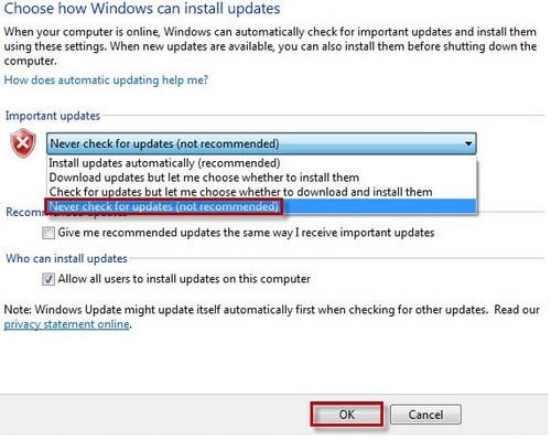Cách tắt update windows 7, 8, 8.1