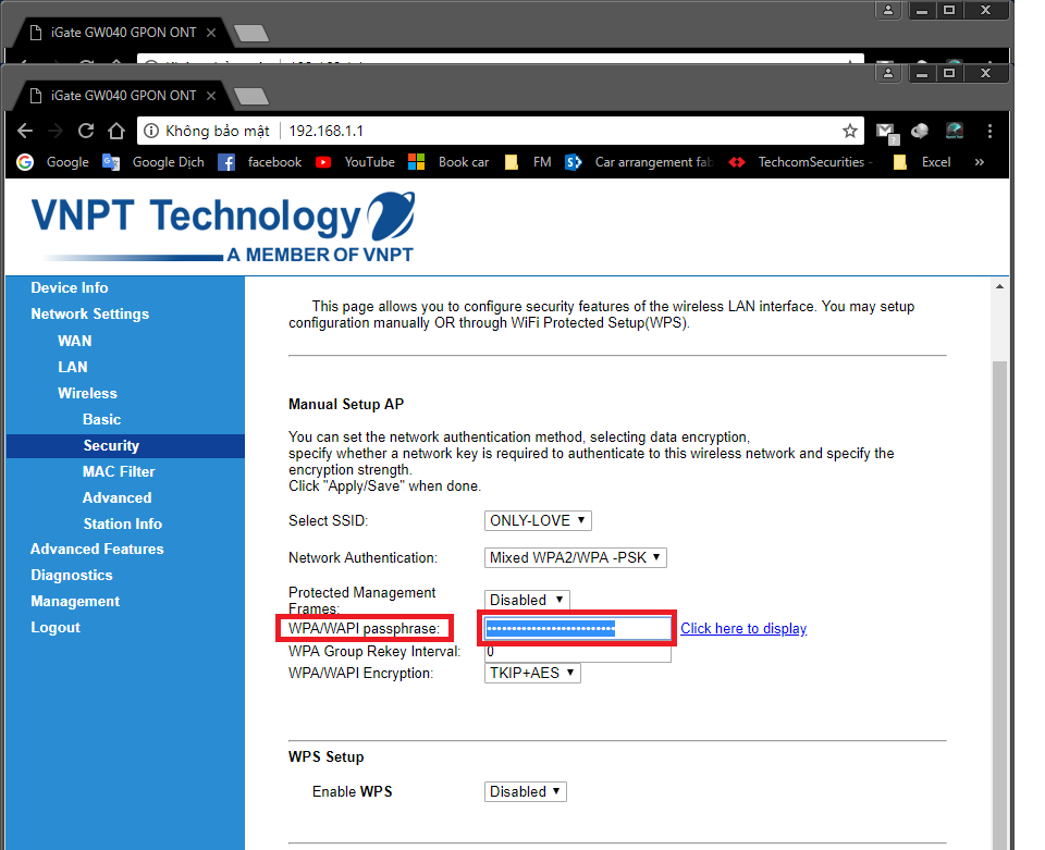 Đổi mật khẩu wifi mạng VNPT - 192.168.1.1 VNPT