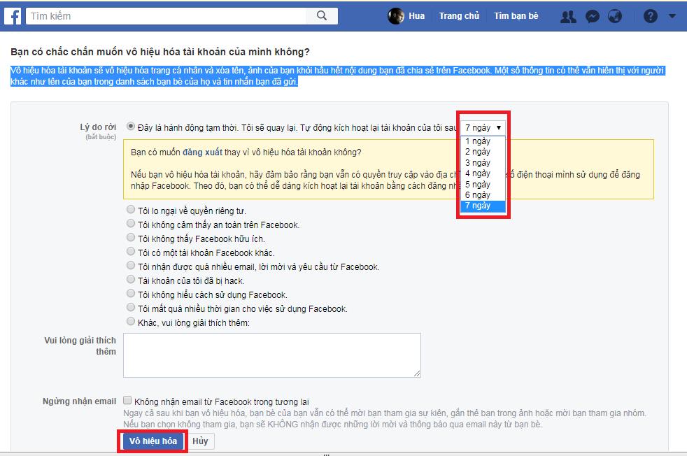 Hướng dẫn cách khóa tài khoản Facebook tạm thời, khóa Facebook tạm thời 2018