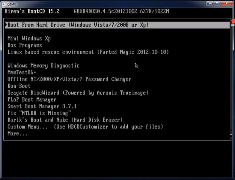 Hướng dẫn cách tạo USB boot nhanh gọn cùng với Grub4dos và Hiren boot 15.2