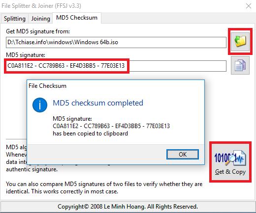 Hướng dẫn cách check mã MD5, ghép nối file với phần mềm nối file FFSJ 3.3