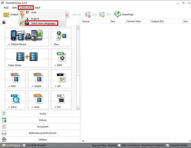 Phần mềm đổi đuôi video Format Factory - Download Format Factory 4.3.0.0