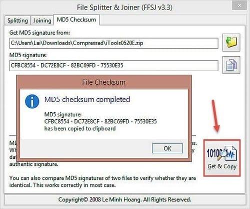 Tải phần mềm nối file, ghép file, Check mã MD5 - FFSJ 3.3 miễn phí