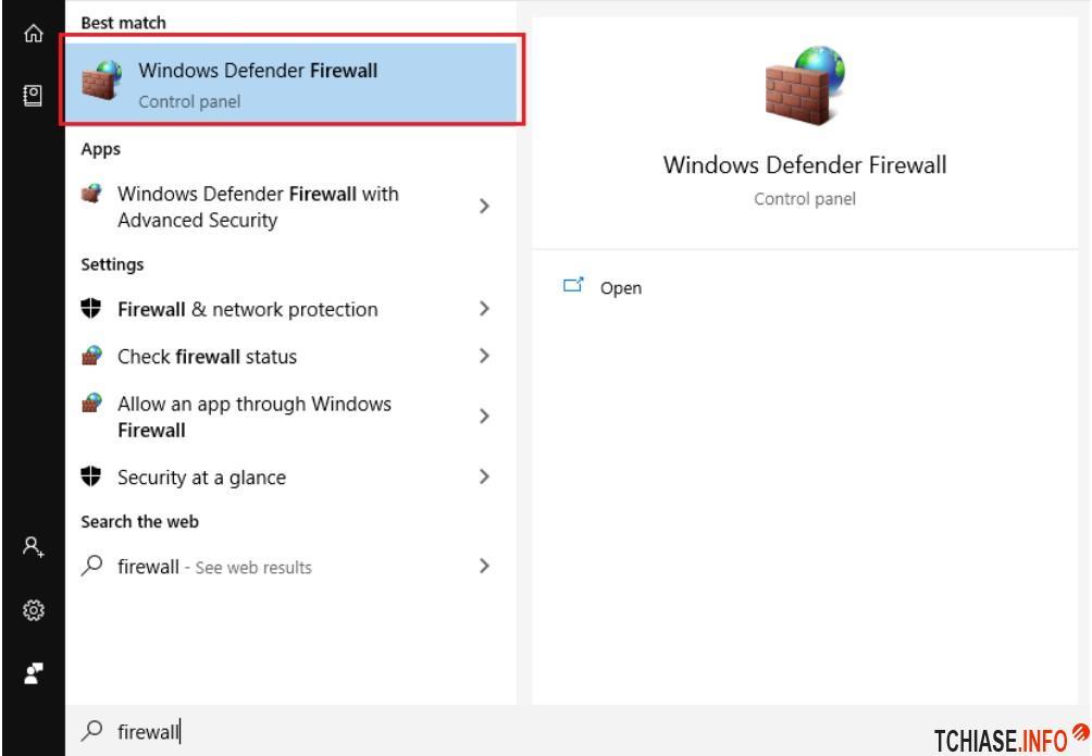 Tìm kiếm cửa sổ Windows Firewall trong Win 10