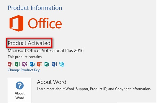 Kiểm tra kết quả sau khi dùngKey activate office 2016 free
