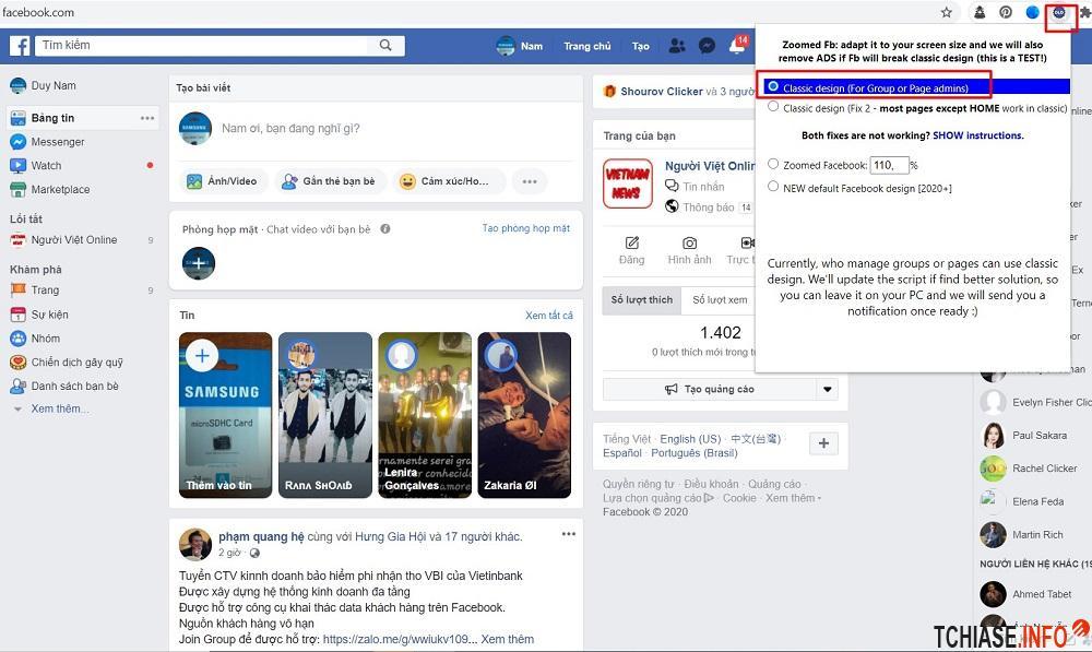Cấu hình Switch to Classic design on Facebook™ để quay lại giao diện FB cũ