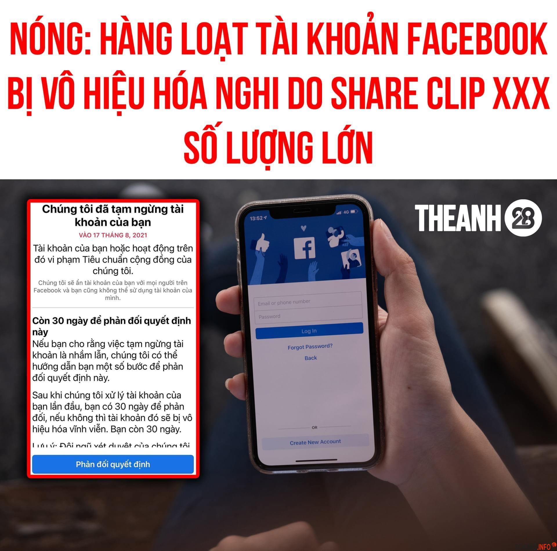 Tài khoản Facebook bị vô hiệu hóa 30 ngày do chia sẻ link xxx trẻ em